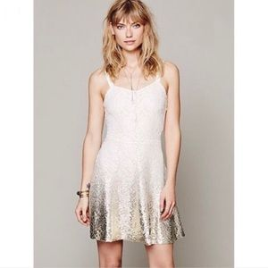 Free People Ombré Lace Metallic Fit & Flare Ivory